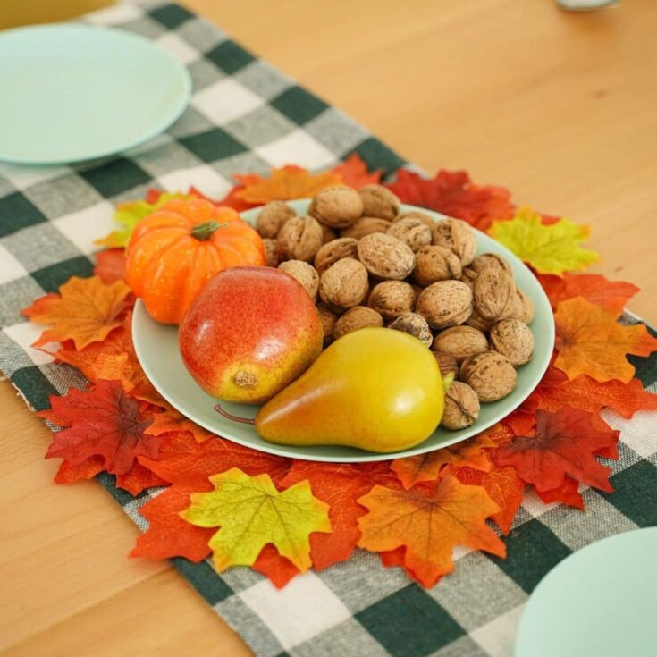 Placemat on checked table runner