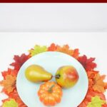 Fake fruit on white plate on placemat