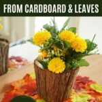 Stump flower pot on leaf placemat