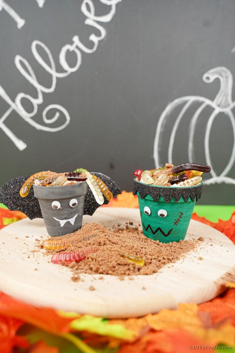 Halloween flower pots on fake sand
