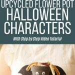 Upcycled flower pot Halloween character collage