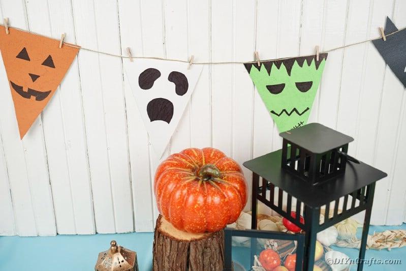 Halloween garland on white background with decor
