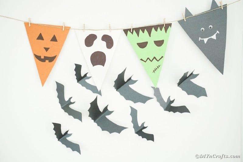 Halloween bunting by flying bat decor