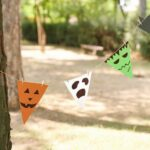 Halloween bunting in trees