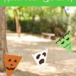 Halloween bunting in trees