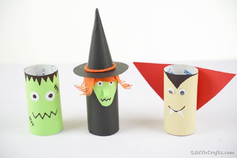 Halloween characters on white surface