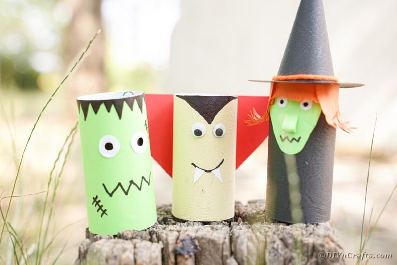 Halloween toilet paper people on a stump