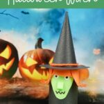Toilet paper witch by Halloween background