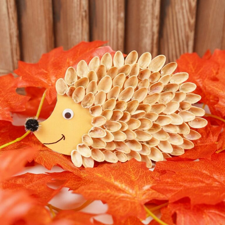 Pistachio shell hedgehog on fall leaves