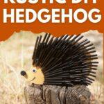 Black straw hedgehog on stump