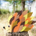Paper leaf hedgehog on stump