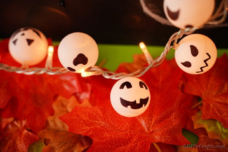 Twinkle light garland on fall leaves