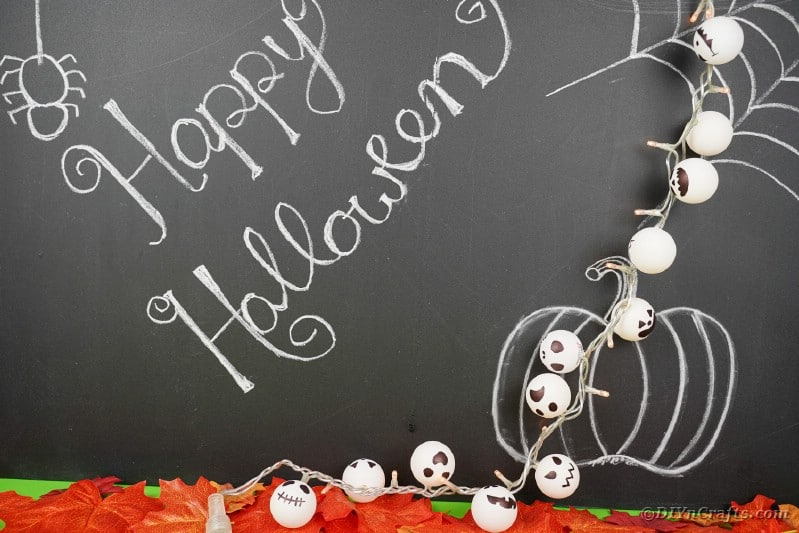 Jack Skellington light garland against chalkboard
