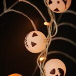 Jack Skellington lights on dark surface