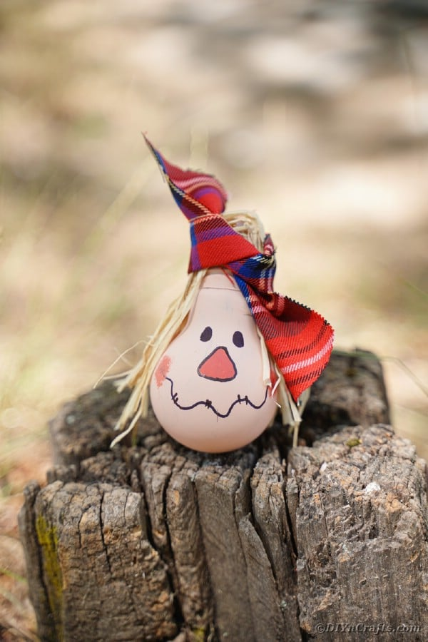 Scarecrow ornament on tree stump