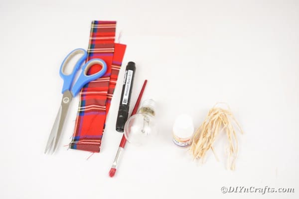 Supplies for lightbulb scarecrow
