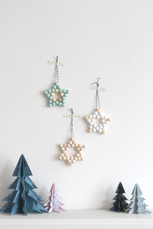 Bead stars on white wall