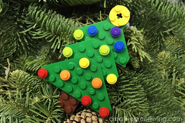 Lego tree laying on tree branch