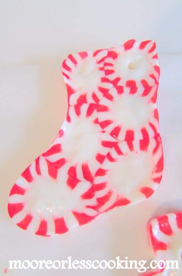 Peppermint candy stocking on table