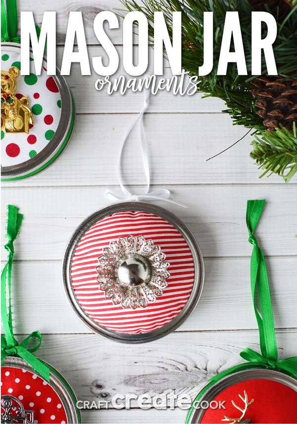 Mason jar lid ornament on table