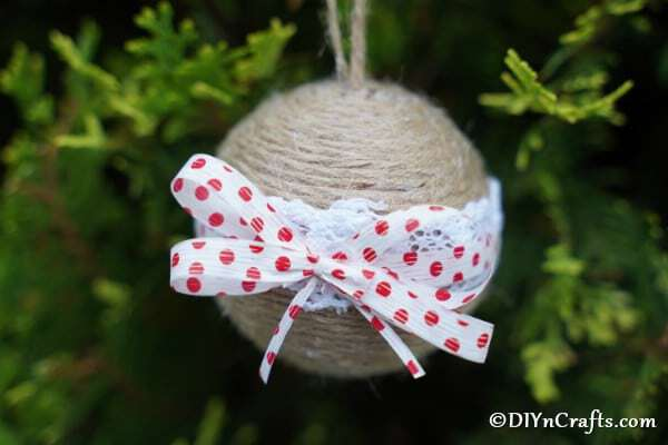 Twine ornament in tree