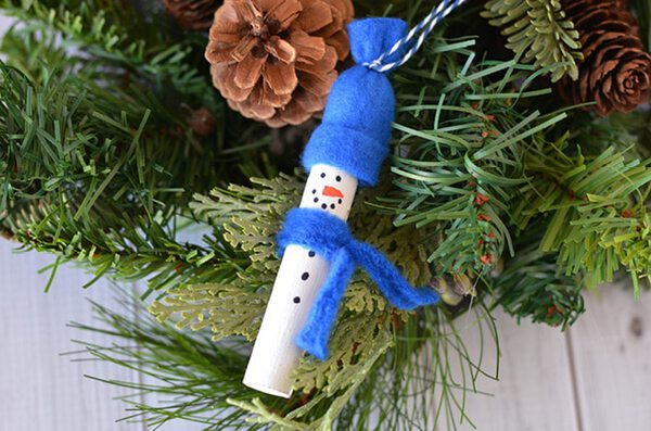 Wood snowman in tree