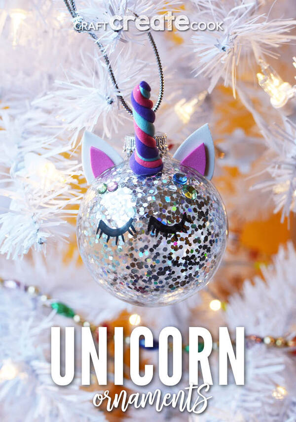 Unicorn ornament in white tree