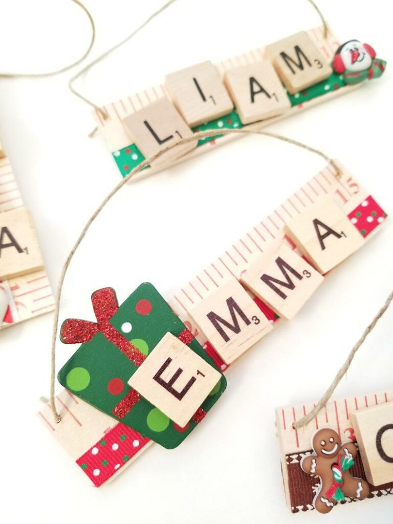Scrabble letter ornaments