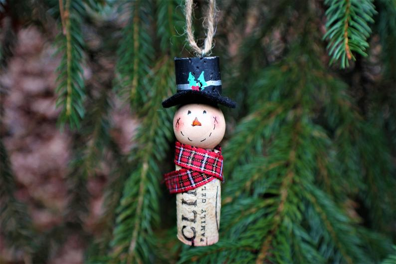 Snowman cork ornament on tree