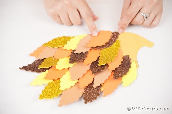 Attaching leaves to hedgehog template