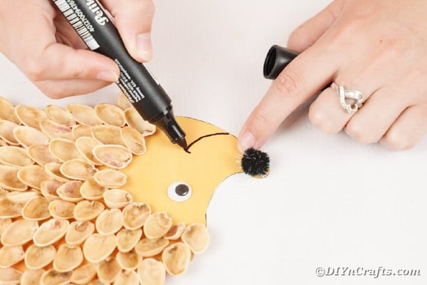 Drawing smile onto hedgehog