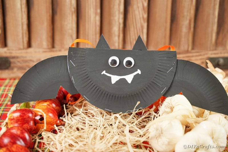 Paper plate bat sitting on hay
