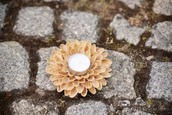 Pistachio candle holder on cobblestone