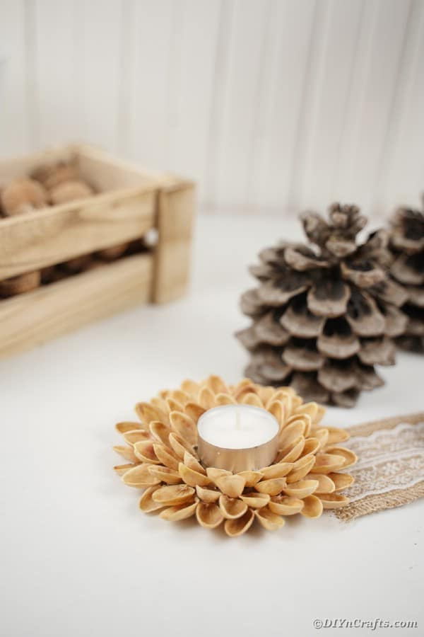 Pistachio candle holder by wooden box