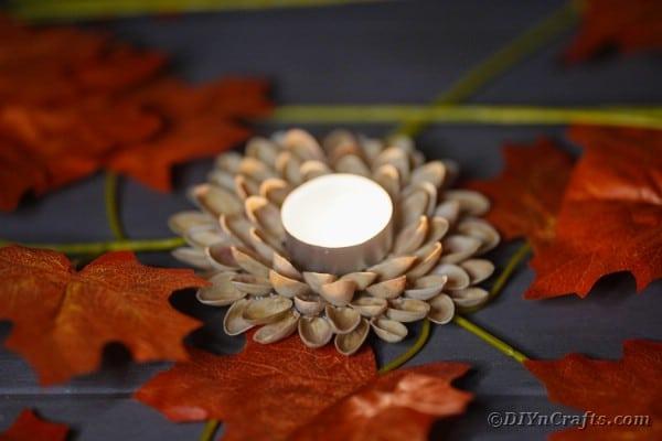 Pistachio shell candle holder lit