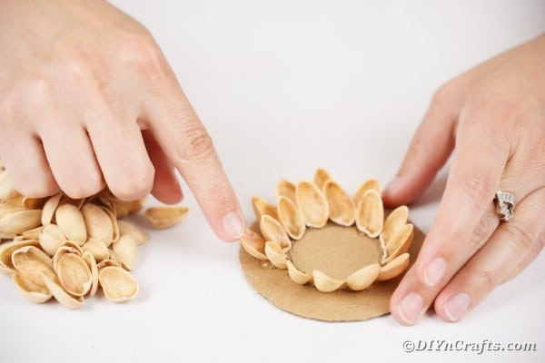 Gluing pistachio shells to cardboard
