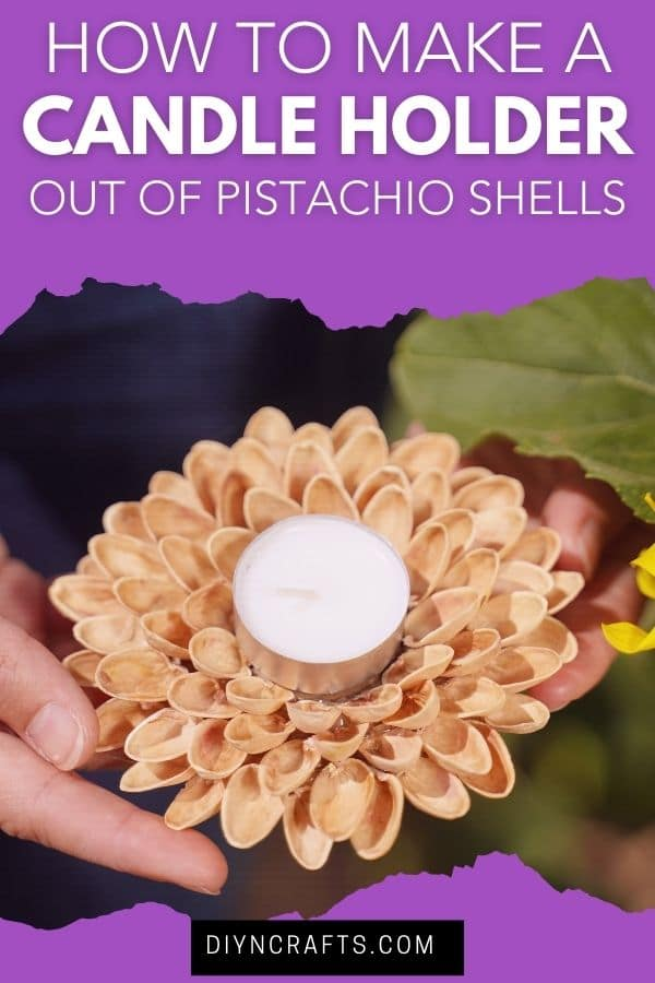 Woman holding a pistachio shell candle holder