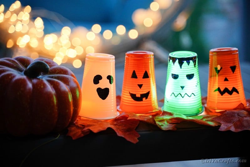 Halloween lanterns on table outside