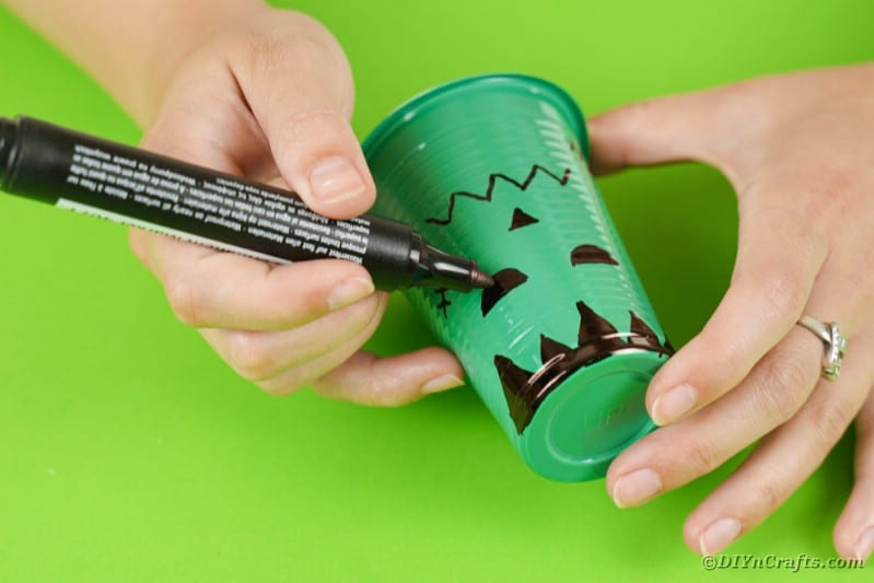 Drawing on a Frankenstein face