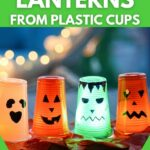 Halloween lanterns lit outside