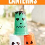Stack of plastic cup lanterns