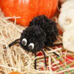 Black yarn spider on hay