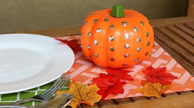 Pumpkin on fall placemat