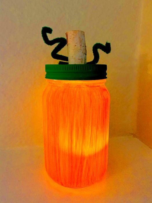 Mason jar pumpkin on counter