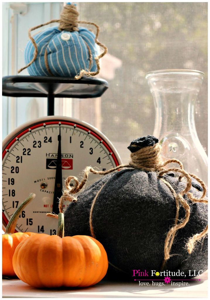 Black fabric wrapped pumpkin by scale