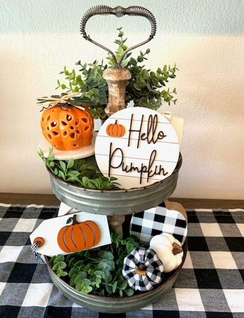 Fall display on plaid table runner