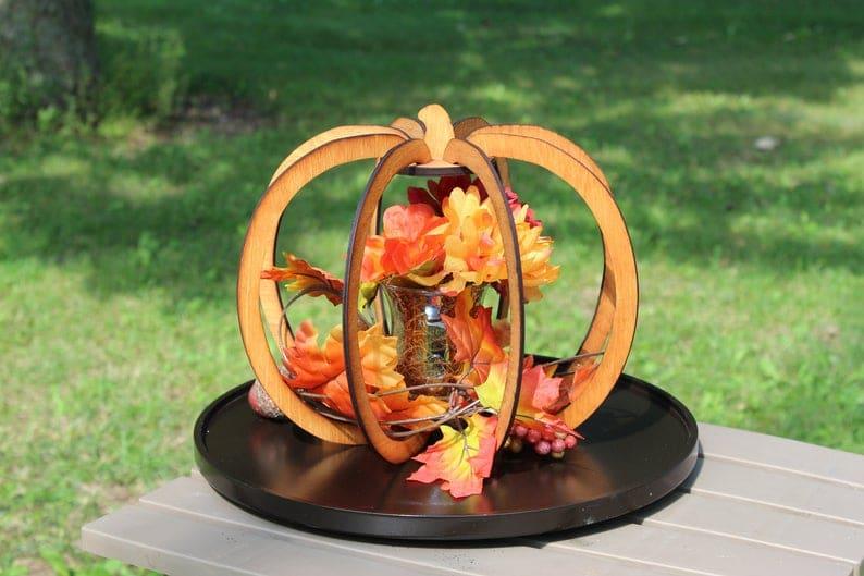 Glowforge pumpkin on wood