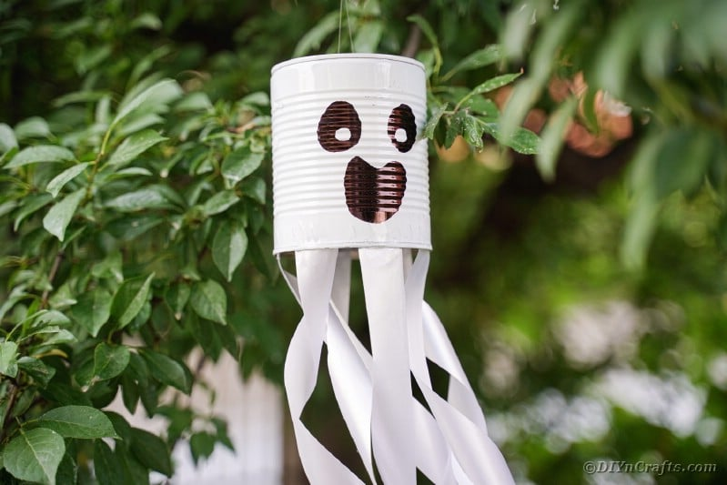 Tin can ghost in tree