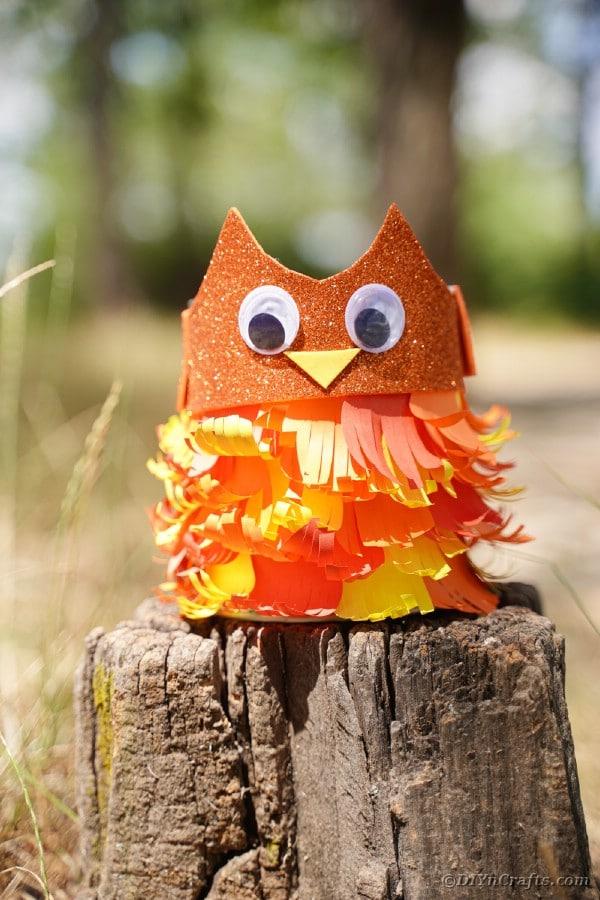 Tin can owl on stump