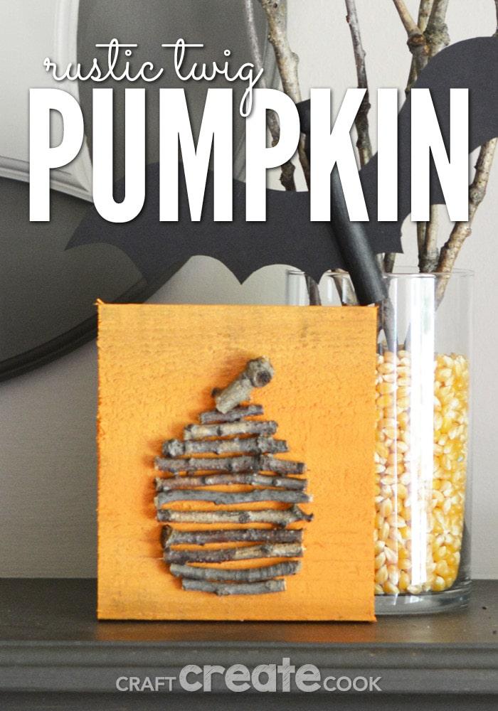 Twig pumpkin on mantle